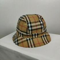 Amazing Nova Check Burberry London Panama Cap Bucket Hat Beige One Size Photo