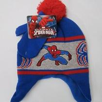 Amazing Spider-Man Peter Parker Boys Winter Hat and Mittens Marvel Red Blue New Photo