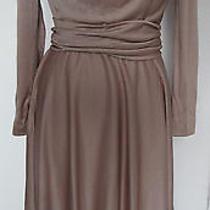 Amazing Vintage Blush Beige Metallic Drape Midi Dress Photo