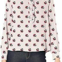 Amazon Brand -  Women's  Long Sleeve Ruffle Blush Tossed Floral Size Photo
