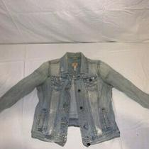 Ambercrombie & Fitch Jean Jacket Women's Ripped Blue Denim Blazer Top Size Large Photo