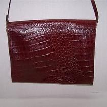 Amelia Berko Vintage Burgundy Red Leather Croc Embossed Clutch W Strap Photo
