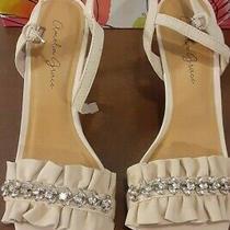 Amelia Grace Blush Betty Sling Back Heels Leather and Rhinestones Size 8m Box Photo