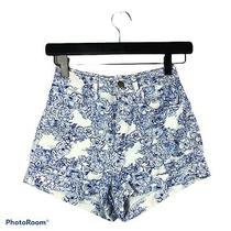 American Apparel Jeans Floral White and Blue High Waist Cuffed Shorts Size 24 Photo