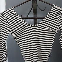 American Apparel Natural Black Stripe Long Sleeve Double U Bodysuit Women's M Photo