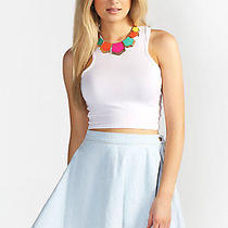 American Apparel Rsand300g Natural Denim White Circle Skirt Xsmall Photo