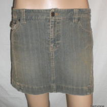 American Eagle Ae Tan Blue Corduroy Mini Skirt Size 2 Photo