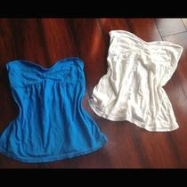 American Eagle Aqua and Cream Strapless Sweetheart Tops Nwt Sz S Photo