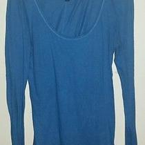 American Eagle Blue Scoop Neck Shirt Women's Size Large Euc  Photo