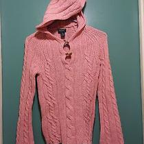 American Eagle Cream Pink Cable Kint Hooded 100% Lambs Cable Sweater Sz Xs Photo