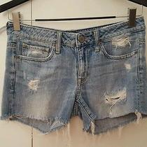American Eagle Denim Cut Off Shorts Blue Size 4 Photo