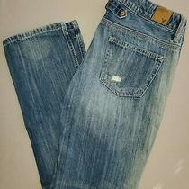 American Eagle Distressed Boy Fit Jeans Size 0 Paint Splattered  Photo