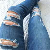 American Eagle Hi Rise Jegging Destroyed Ripped Denim Blue Jeans Size 0 X 28 Photo
