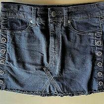 American Eagle Jean Skirt Stretch Black Frayed Edge Size 2 New Photo