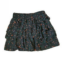 American Eagle Junior Short Skirt Size M Flappy Blue Gray Floral Summer Photo