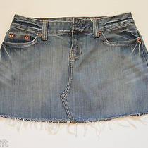American Eagle Juniors Size 2 Blue Distressed Denim Jean Mini Skirt 28