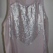 American Eagle L Champagne Blush Pink Sequin Zip Back Chiffon Tank Top Trendy Photo