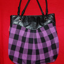 American Eagle Large Tote Shopper Zip Top Black & Purple Bag Purse Photo
