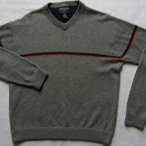 American Eagle Men's Lambs Wool Blend Long Sleeve v-Neck Sweater - Gray - Small Photo
