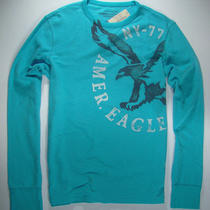 American Eagle Mens Aqua Graphic Thermal Shirt Xxxl Nwt Photo