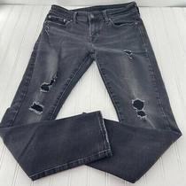 American Eagle Mens Flex Distressed Skinny Black Denim Jeans Size 30 X 30 Photo