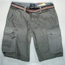 American Eagle Mens Gray Belted Frayed Cargo Shorts 40 Nwt Photo