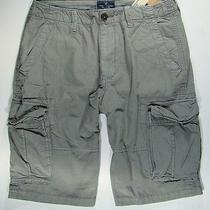 American Eagle Mens Gray Ripstop Long Cargo Shorts 33 Nwt Photo