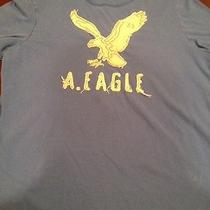 American Eagle Mens M Tshirt Blue Embroidered Distressed Preowned Photo
