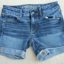 American Eagle Midi Super Stretch Denim Jean Shorts Size 00 Photo