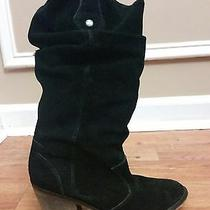 American Eagle Outfitter Black Leather Suede Cowboy Boots Womens Juniors Shoe 6m Photo