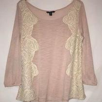 American Eagle Outfitters Beige/blush 3/4 Sleeve Top With Lace Trim Size M Photo