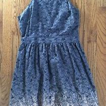 American Eagle Outfitters Gray Lace Metallic Rose Gold Cut Out Back Dress Sz. 8 Photo