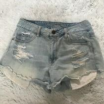 American Eagle Outfitters Light Denim Distressed Shorts Sz 4 (Preown) Photo