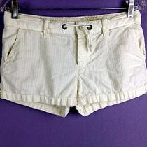 American Eagle Outfitters  Off White Cotton Flat Low-Rise Casual Short Shorts 2 Photo