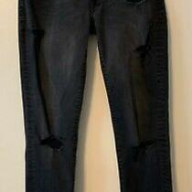 American Eagle Outfitters Woman's Slim Black Ripped Jeans Size 10 Photo