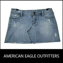 American Eagle Outfitters Women Denim Distress Mini Skirt Size 4 Blue Photo