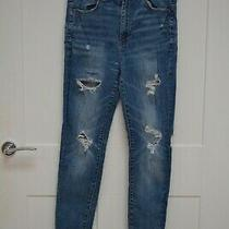 American Eagle Outfitters Women's Blue Denim Jeans With Rips Size 10 Photo