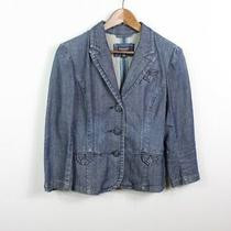 American Eagle Outfitters Women's Denim Jacket Button Blazer Blue 3/4 Sleeve M Photo