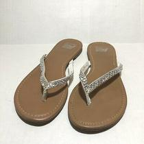 American Eagle Outfitters Women's White Bejeweled Thong Sandals Size 8 Photo