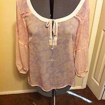 American Eagle Outfitters Womens Blush Pink Sheer Boho Blouse Medium Photo