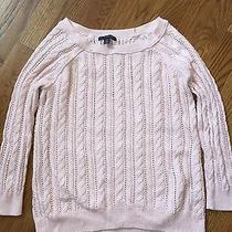 American Eagle Outfitters Womens Cable Knit Sweater Blush Pink Xs 3/4 Sleeves Photo