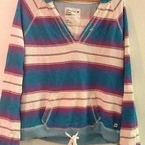 American Eagle Outfitters Womens Juniors Large v Neck Pullover Hoodie Striped Photo