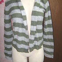 American Eagle Pine Green & Gray Stripe Open Front Stretch Knit Shrug Sweater L Photo