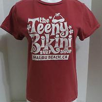 American Eagle Shirt Large Red Graphic the Teeny Bikini Surf Shop Malibu Cotton Photo