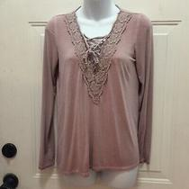 American Eagle Soft and Sexy Women's Size S Blush Pink Lace Neck Crochet Top Photo