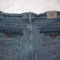 American Eagle  Stretch Boot  Crystal Pocket Jeans Size 0 Distressing Photo