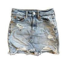 American Eagle Super Stretch X Destroyed Distressed Denim Mini Skirt Size 00 Photo