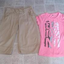 American Eagle Sz 8 Tan Capris Pants & Element Pretty Pink Top Sz L Lot I Photo