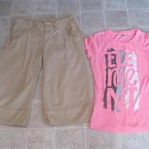 American Eagle Sz 8 Tan Capris Pants & Element Pretty Pink Top Sz L Lot I Photo