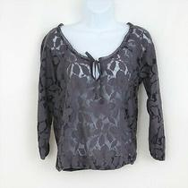 American Eagle Sz Xs Womens Top Blouse Gray Floral Lace 3/4 Sleeve Overlay Sheer Photo